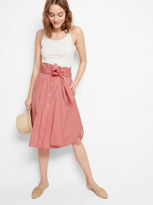 Skirt with Tie Belt Red