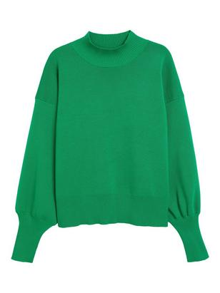 Sweater with Short Turtleneck Green