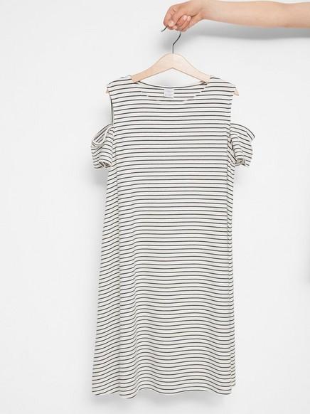 Cold shoulder klänning Vit