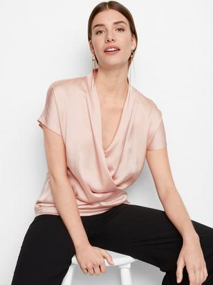 Satin and Jersey Top Pink