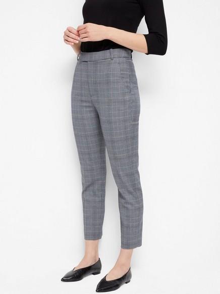Rutete bukse med høy liv Grå