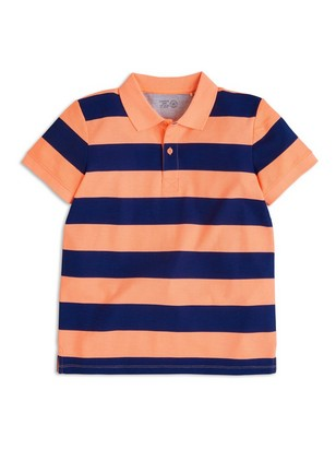 Striped Polo Shirt Coral