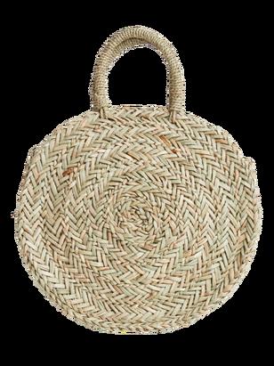 Round Straw Bag Beige