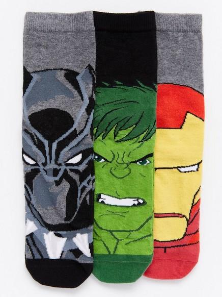 Marvel-sukat, 3 paria Musta