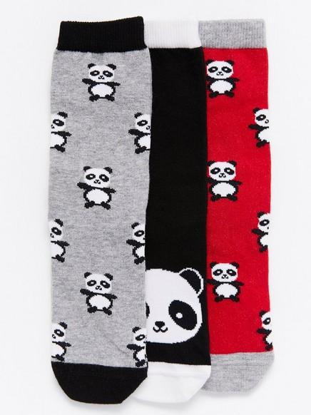 3-pakning med sokker med pandaer Rød