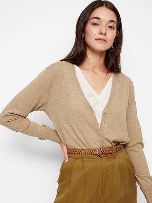Cardigan in Merino Wool Beige