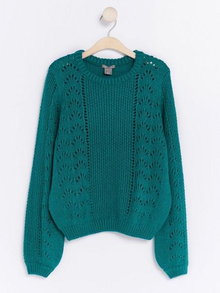 Pletený svetr sděrovaným vzorem Zelená