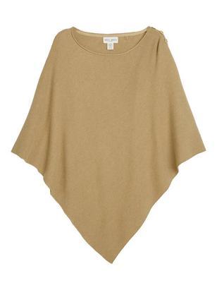 Rib-knitted Poncho Brown