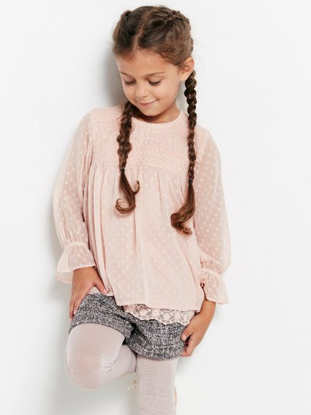 Chiffon Blouse with Embroidery Pink