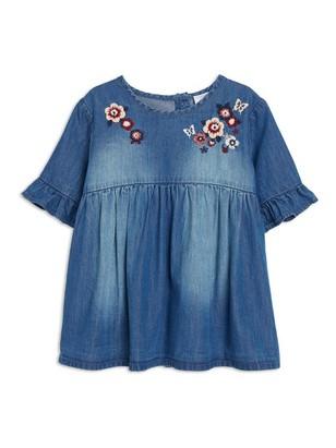 Embroidered Denim Blouse Blue