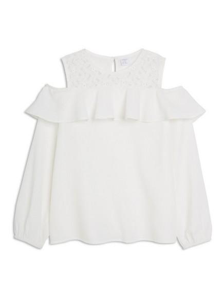 Bluse med bare skuldre Hvit
