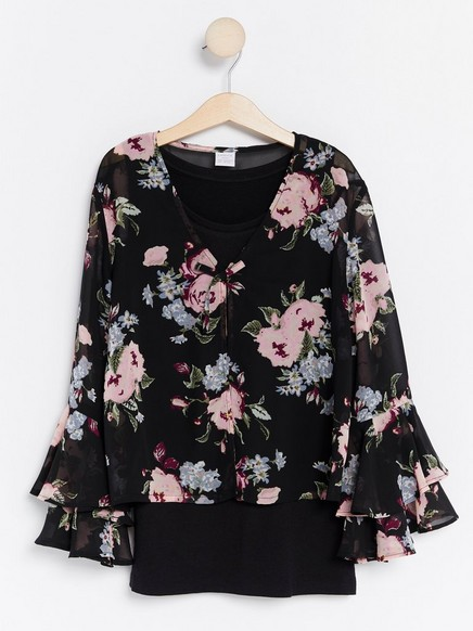 Patterned Blouse with Tank Top Black