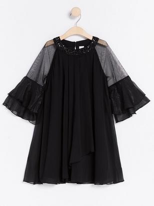 Chiffon Dress with Beaded Neckline Black