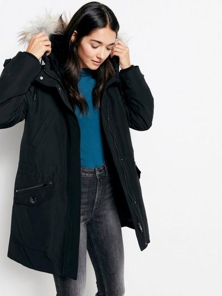 Hupullinen parka-takki Musta