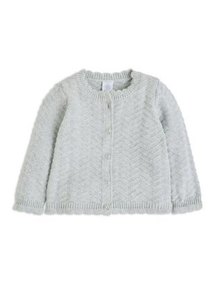 Pattern-knit Cardigan Grey