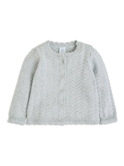 Pattern-knit Cardigan Grey