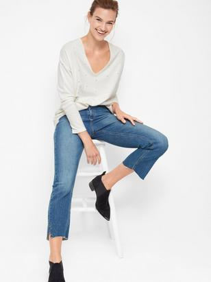 Fine-knit Sweater with Rivets White