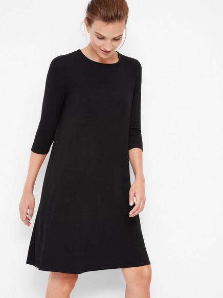 Trikåklänning i Tencel®-blandning Svart