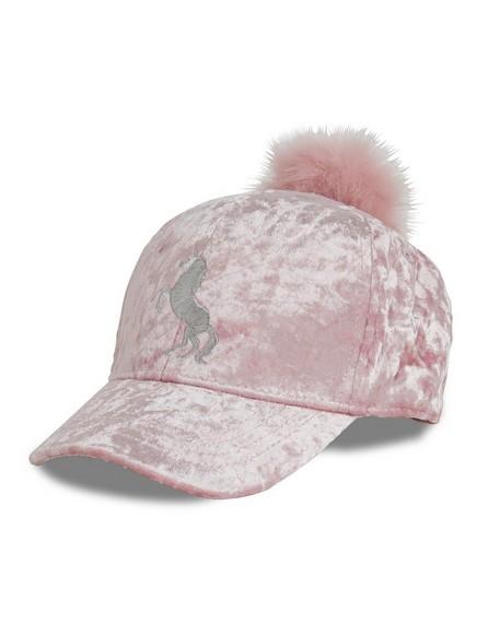 Velvet Cap with pom pom Pink