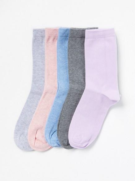 Sada pěti párů ponožek Fialová