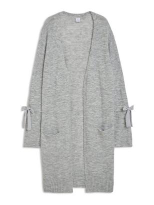 Knitted Bell Sleeve Cardigan Grey