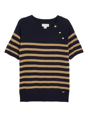 Sweater with Gold Coloured Buttons Blue