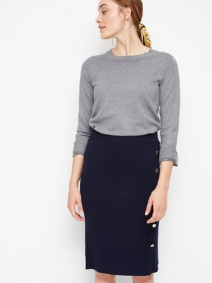 Fine Knitted Skirt with Buttons Blue