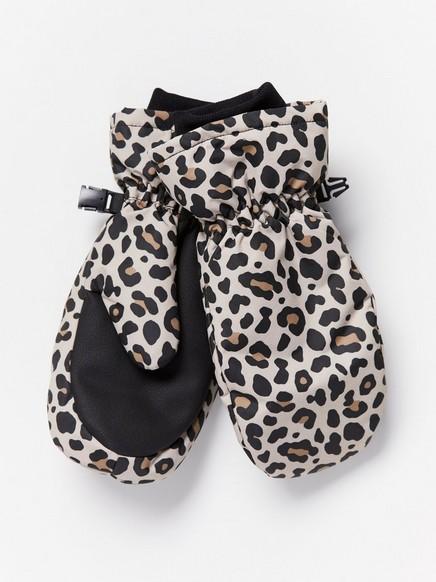 Vettähylkivät leopardikuvioidut rukkaset Beige