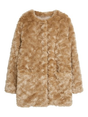 Fake Fur Coat Beige