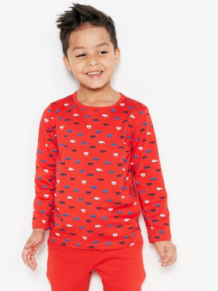 Patterned T-shirt Red