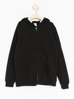 Hooded Zip Sweater Black