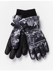 Ski Gloves with Pattern  Grey