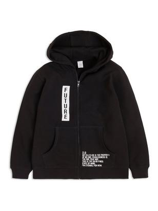 Hooded Sweater with Print Black