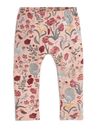 Leggings with Flower Pattern Pink