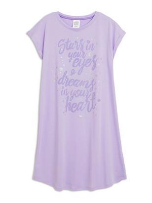 Night Dress with Glitter Print Lilac