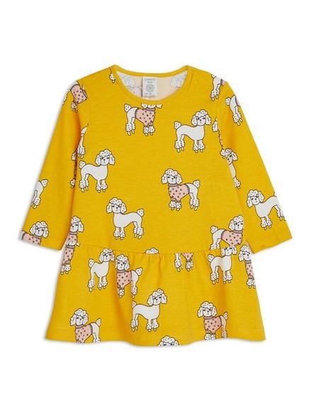 Mønstret kjole Gul