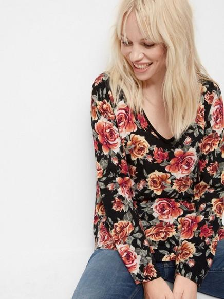 Blommig tröja Svart
