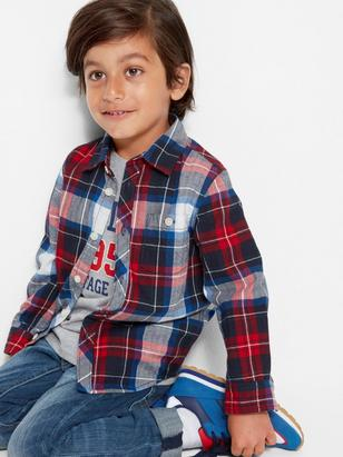 Checked Cotton Shirt Blue