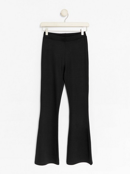 Flared Jersey Trousers Black