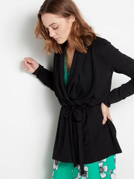 Jemně pletený černý kardigan se zavazovacím páskem Černá