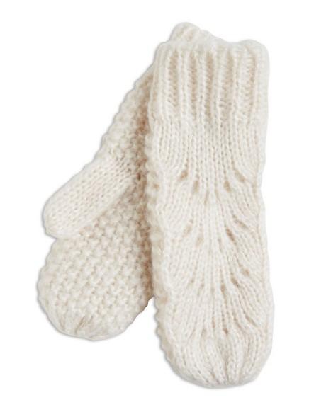 Pletené palčáky Bílá