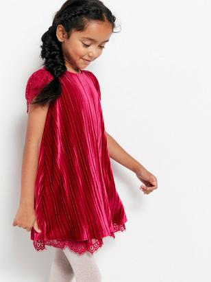 Pleated Velvet Dress with Lace Lilac