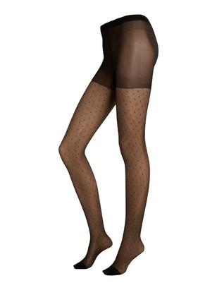 Vzorované punčochové kalhoty 30DEN Černá