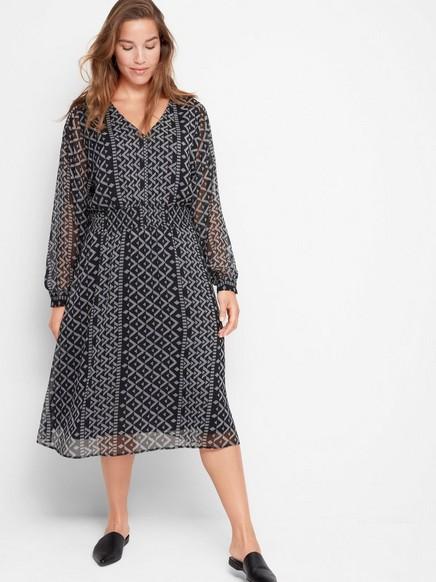 Pitkähihainen kuviollinen mekko Musta