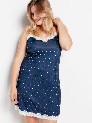 Night Slip with Dots Blue