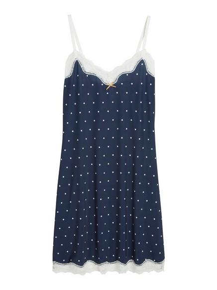 Nattkjole med prikker Blå