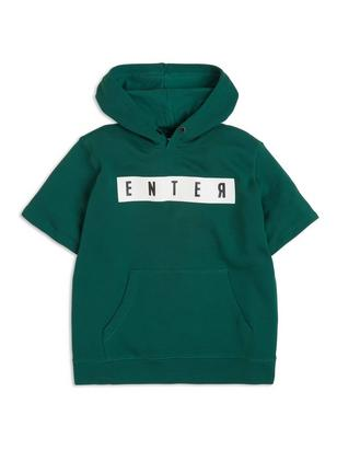 Short Sleeve Hooded Sweater Green