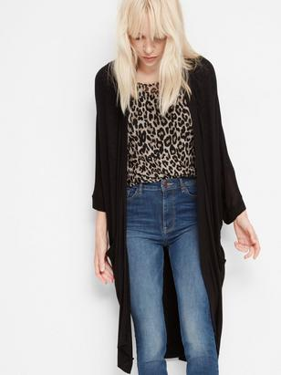 Long Fine-knit Cardigan Black