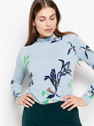 Patterned Turtleneck Top Blue