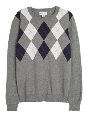 Fine-Knit Sweater with Square Pattern Grey